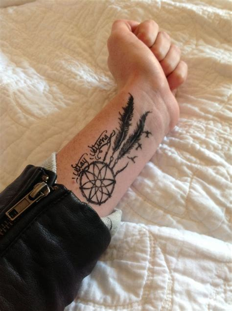 dream catcher wrist tattoo stay strong simple catcher birds