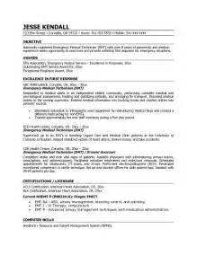 Emt Resumes by Exle Emt Emergency Technician Resume Free Sle