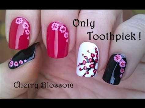 easy acrylic paint nail easy cherry blossom nail using toothpick acrylic