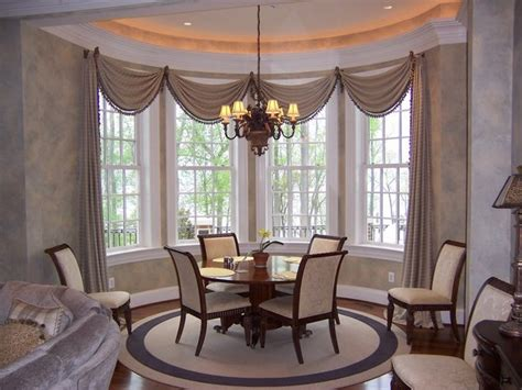 dining room window treatment ideas bow window treatment an and graceful feature of