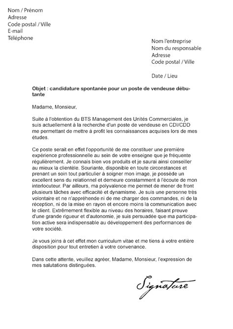 Exemple De Lettre De Motivation Gratuite Vendeuse exemple de lettre de motivation gratuite pour vendeuse