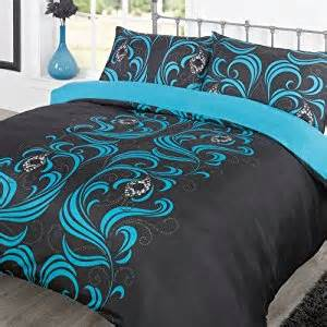 Teal And Black Duvet Cover Duvet Cover Bedding Set Ava Black Teal Single Amazon