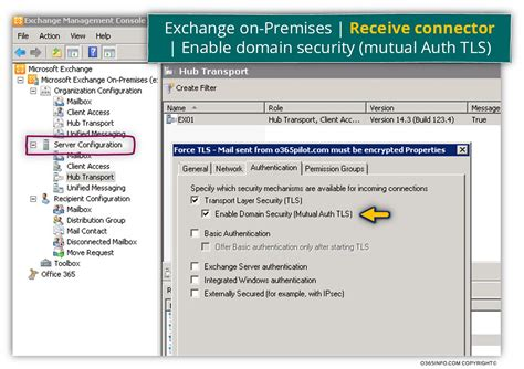 configure xp multiple domains configuring the option of force tls in exchange on