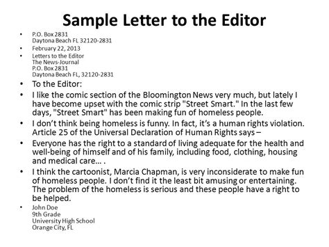 letter to editor format for writing a letter to the