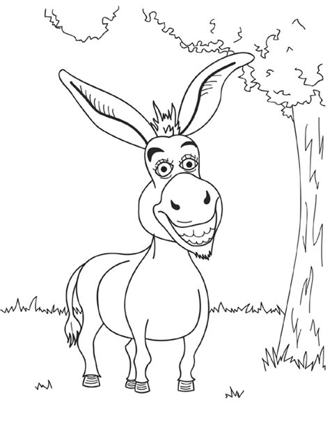 shrek donkey coloring page shrek coloring pages smiling donkey funny