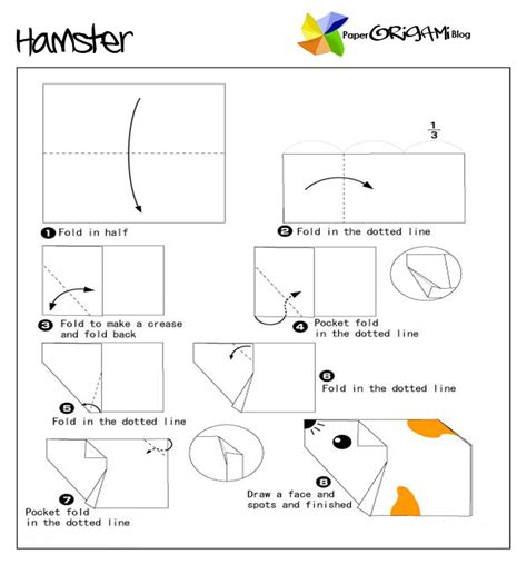 How To Make An Origami Hamster - animals origam hamster paper origami guide