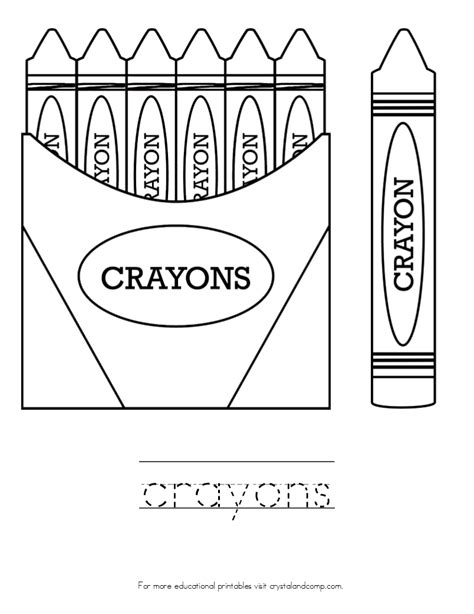 free coloring pages of crayon box