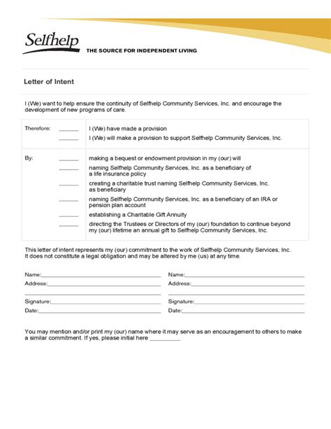 Letter Of Intent Form Company sle form of letter of intent free