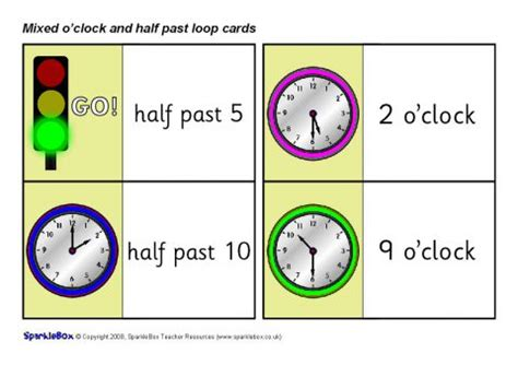 printable loop card games mixed o clock and half past loop cards sb1935 sparklebox