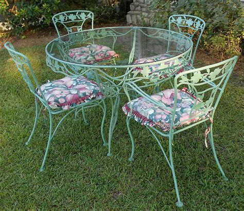 Vintage Wrought Iron Patio Set Dogwood Blossoms Branches Wrought Iron Patio Furniture Vintage