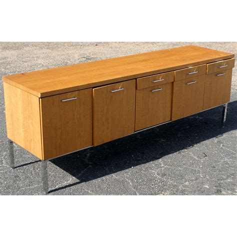 wooden credenza 76 quot general fireproofing co chrome and wood credenza ebay