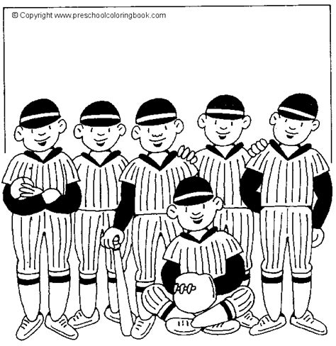 girl baseball team free coloring pages