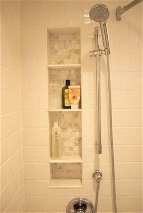 bath then shower built ins tile and bath on