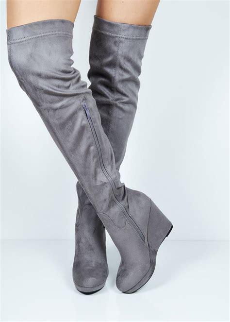 65981 grey suede wedge the knee boot