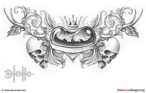 heart with crown tattoo designs lower back with swallows skulls and crown