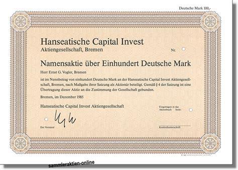 Hanseatische Capital Invest Aktiengesellschaft Sehr