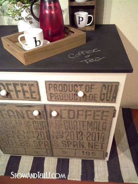 decoupage kitchen cabinets diy decoupaged coffee sack furniture cabinet stow tellu