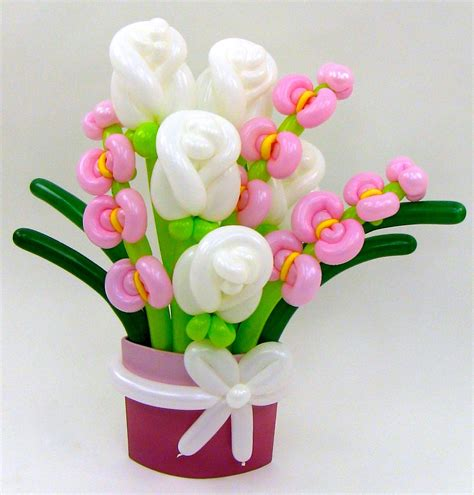 White rose amp pink orchid flower balloon bouquet balloon animals palm beach