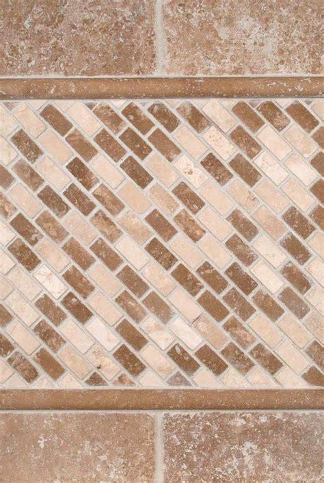 tuscany walnut 3x6 tumbled and noce chiaro mini brick