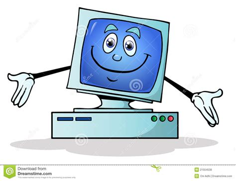 Desk With Hutch And Drawers Illustration Of A Happy Computer Stock Illustration
