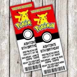 pokemon ticket invitation pokemon birthday party diy