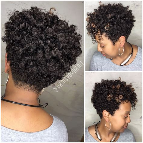 crochet braids on short natural hair crochet tapered cut blended into a natural tapered cut
