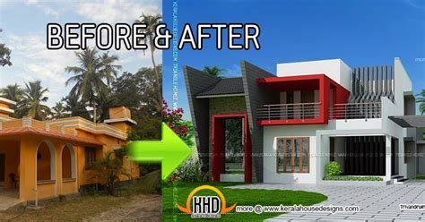 home design before and after kerala house renovation before and after indian house plans