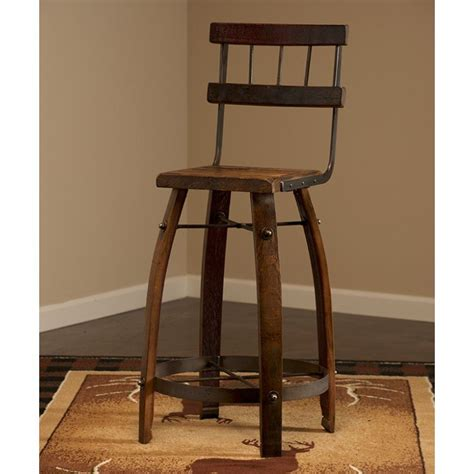 Wine Bar Stools by Reclaimed Wine Barrel Stave Backed Bar Stool