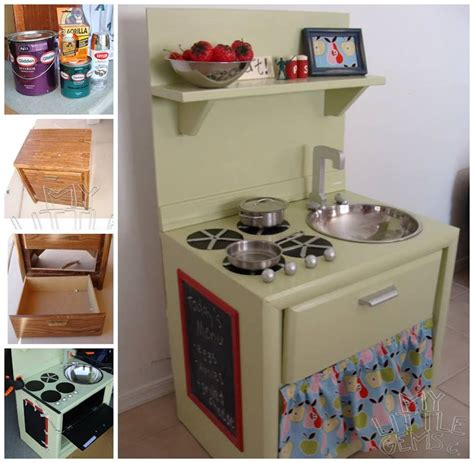 diy play kitchen ideas diy play kitchen from an nightstand home kitchen diy children craft project repurpose
