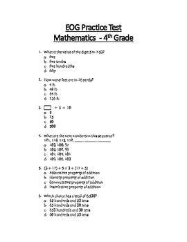 Printable 3rd Grade Eog Reading Practice Test