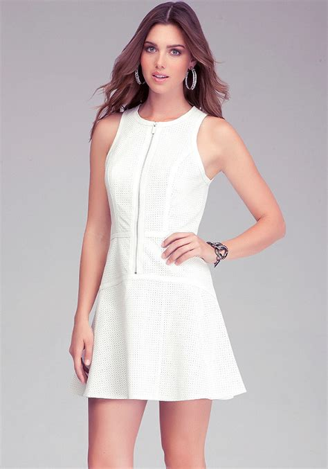 perforated leather fit flare dress all dresses bebe