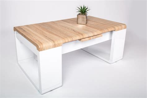 table basse design en bois ch 234 ne sonoma laqu 233 blanc