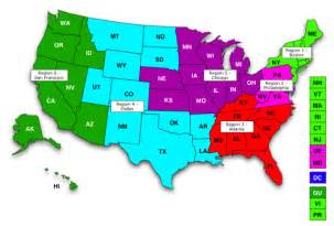 regional map regions states employment administration