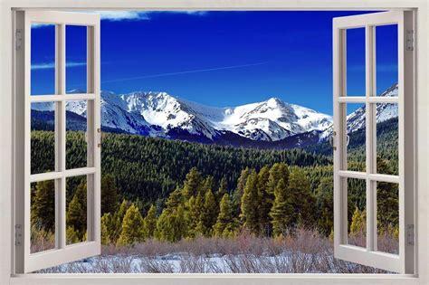 Ebay Wall Murals mountains 007 3d window view decal wall sticker art mural
