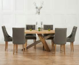 Dining Table Fabric Chairs Chateau 180cm Oak And Metal Dining Table With Pacific