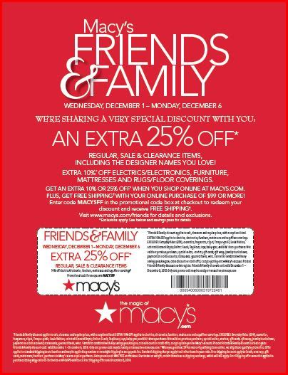 Macys Coupon Giveaway - macy s friends and family 25 off printable coupon or online