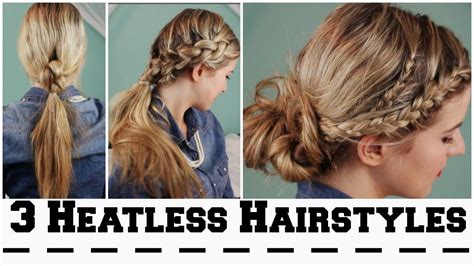 back to school hairstyles college 3 heatless hairstyles for back to school youtube