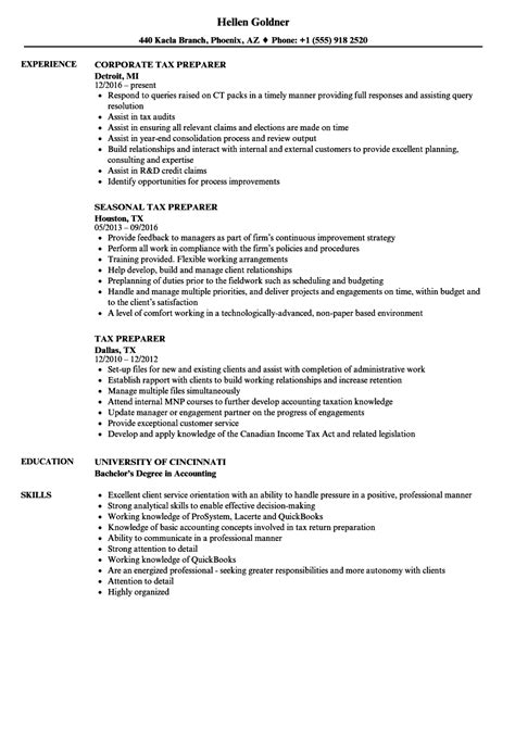 Tax Preparer Resume by Tax Preparer Resume Sles Velvet