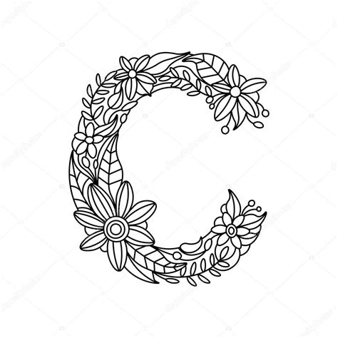 C Coloring Pages For Adults by Letter C Coloring Book For Adults Vector Stock Vector