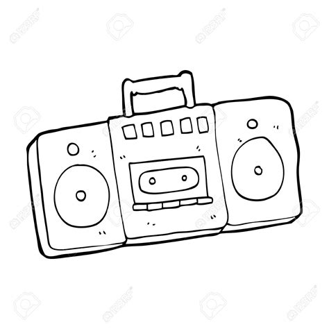 drawing of a drawing of a radio radio cassette player royalty free cliparts vectors and