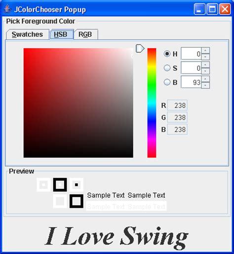 colors in java swing java swing color chooser 颜色选择面板 demo 五 www laoj888 cn