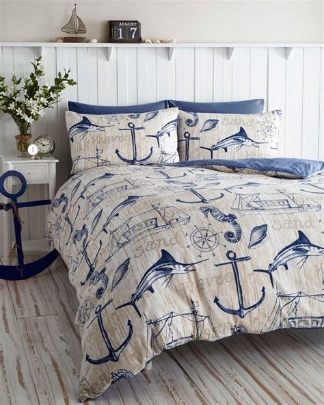wharf boat ship waves nautical anchor super king duvet - Boat Bed Sets