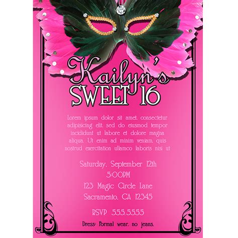 masquerade sweet 16 invitations template best template
