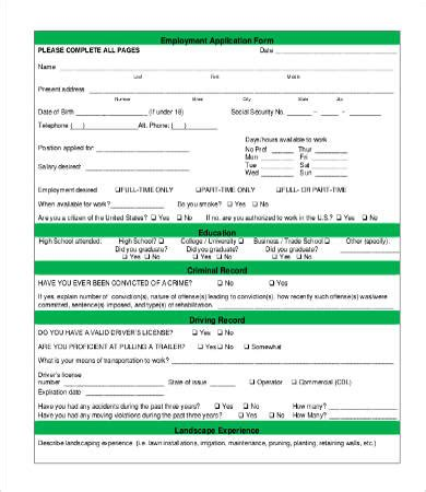 Application For Employment Form 9 Free Word Pdf Documents Download Free Premium Templates Application Landscape Template