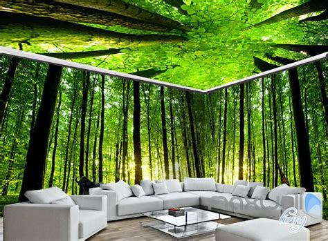 green wallpaper murals 3d animals green forest tree top entire living room