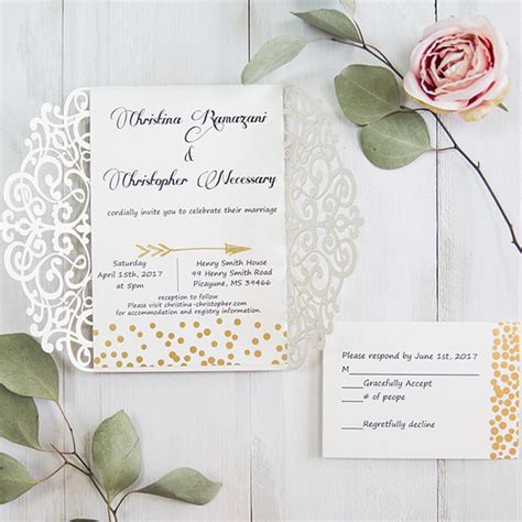 Wedding Invitations With Response Cards And Envelopes
