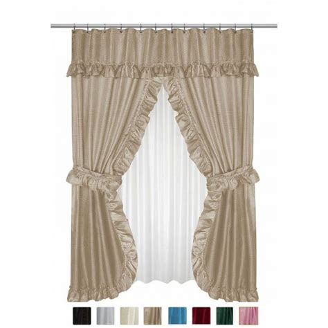 double shower curtains with valance diamond dot double swag shower curtain with valance and