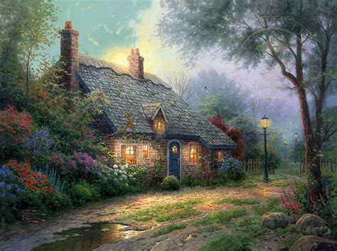 Moonlight Cottage Limited Edition Art The Thomas Cottage Paintings By Kinkade