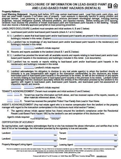 Free Arizona Lead Based Paint Disclosure Form Pdf Template Arizona Residential Lease Agreement Template