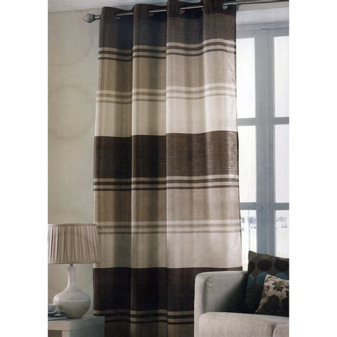 brown striped curtains chocolate brown stripe ring top one window curtain panel